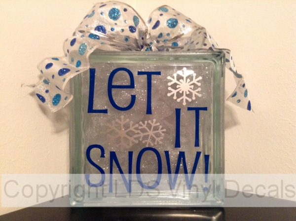 Let It Snow Winter Vinyl For Glass Blocks Lds