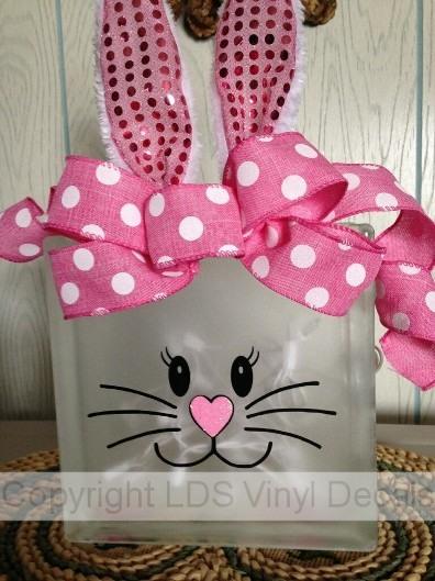 Bunny Rabbit Face Easter Vinyl For Glass Blocks Spring
