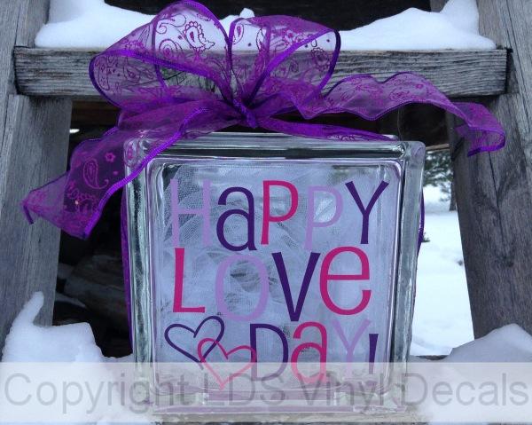 Happy Love Day Multi Color Love Vinyl For Glass Blocks