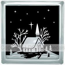 Christmas Vinyl Decals For Glass Blocks.Winter Church Scene With Stars Christmas Vinyl For Glass