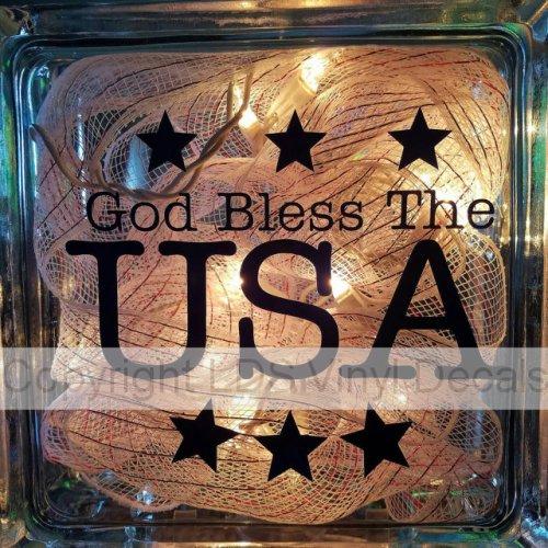 God Bless The Usa Vinyl For Glass Blocks Lds